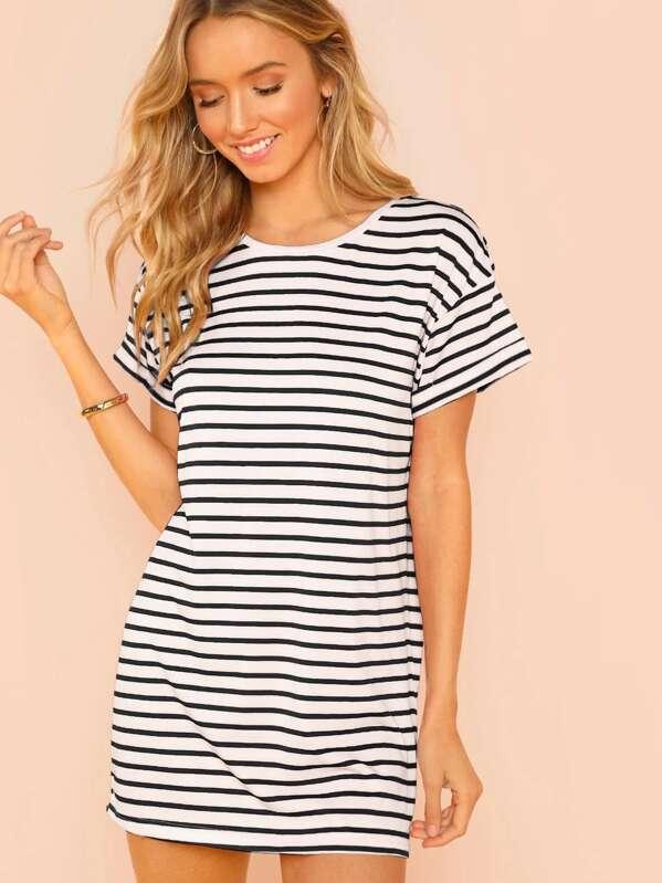 19cfa16526 Short Sleeve Striped Tee Dress | SHEIN