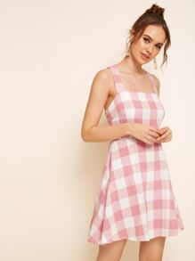 Thick Strap Crisscross Back Gingham Dress