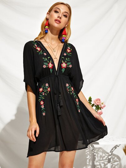 Plunging Neck Drawstring Waist Embroidery Floral Dress