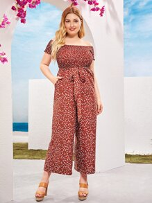 Plus Ditsy Floral Print Shirred Bodice Palazzo Bardot Jumpsuit
