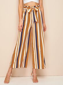 Paperbag Waist Colorful Striped Belted Palazzo Pants