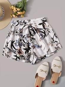 Botanical Print Self Belted Shorts