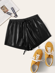 Drawstring Waist Leather Look Shorts