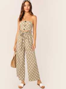 Button Detail Bandeau Top and Paperbag Waist Pants Set