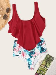 Hanky Hem Top With Tropical Bikini Set