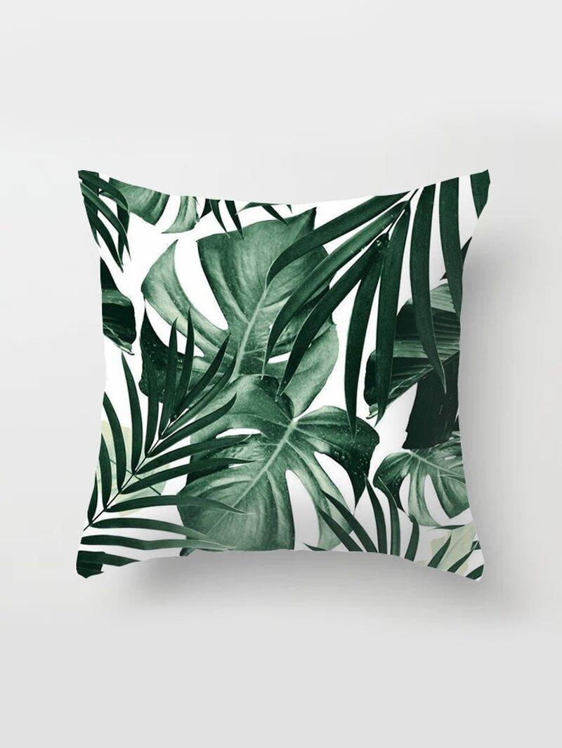 Tropical Leaf Print Cushion Cover by Romwe
