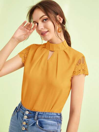 Lace Sleeve Cut-out Front Mock-neck Blouse