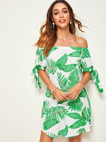 Knotted Sleeve Off Shoulder Tropical Dress