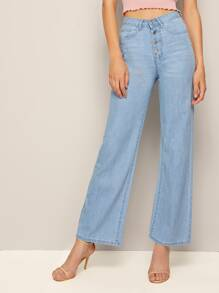 Button Through Straight Leg Jeans