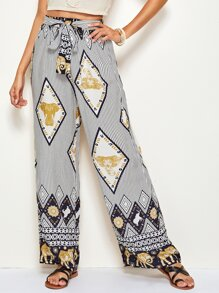 Tribal & Striped Print Tie Waist Wide Leg Pants
