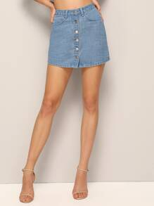 Button Through Skinny Denim Skirt