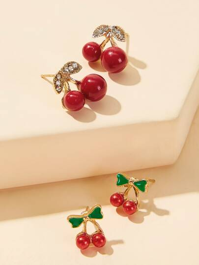 Rhinestone Cherry Shaped Earrings 2pairs