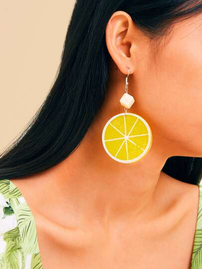 Lemon Shaped Drop Earrings 1pair