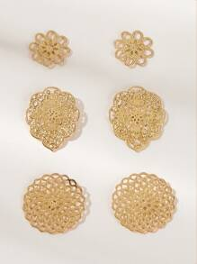 Hollow Out Flower Stud Earrings 3pairs