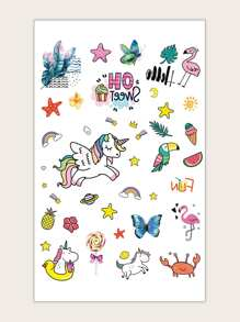 Unicorn & Butterfly Pattern Tattoo Sticker 1sheet