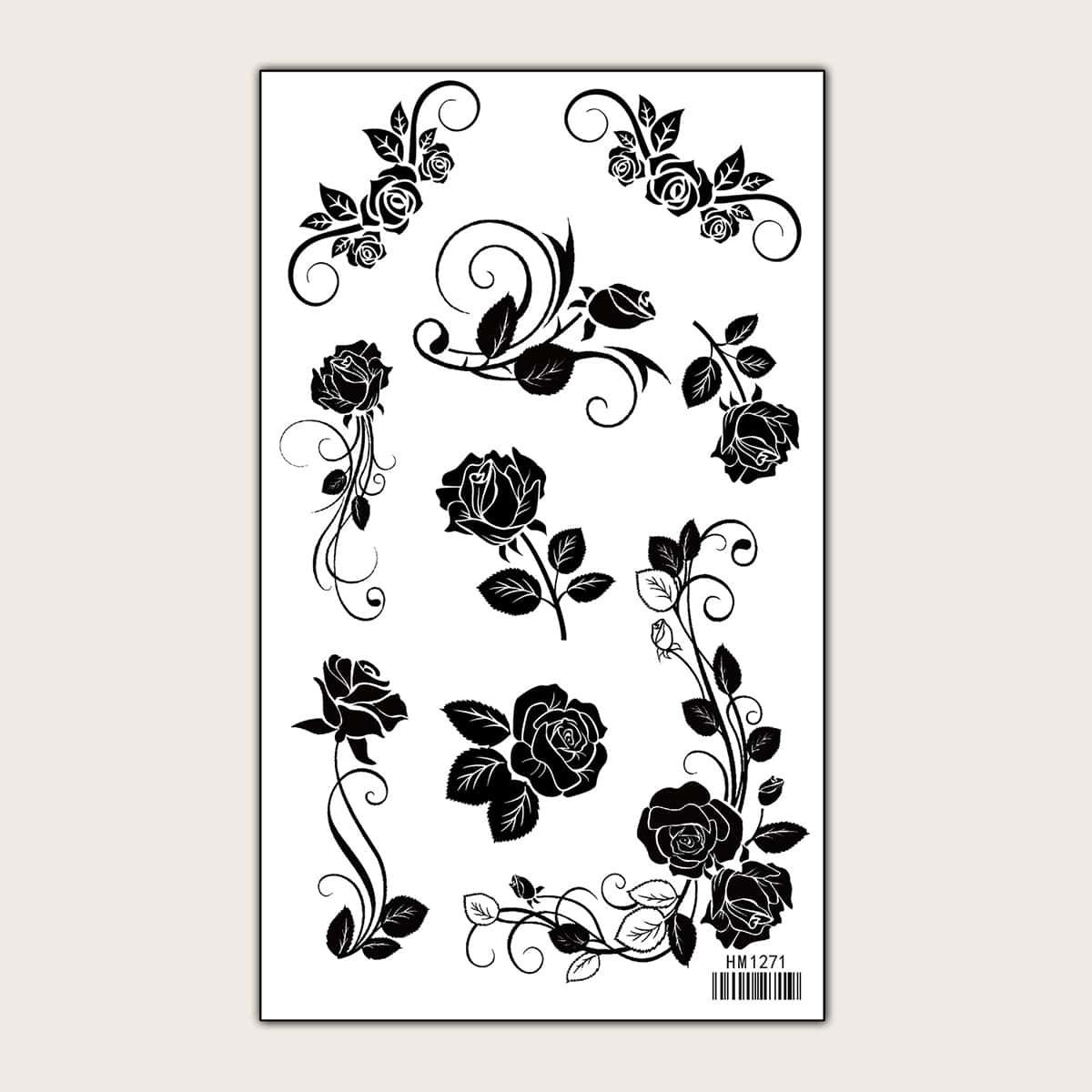 Autocollant de tatouage avec motif rose 1 feuille