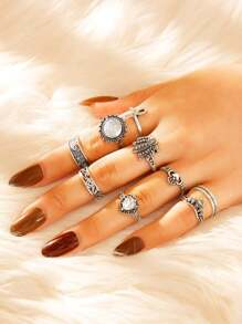 Lotus & Cross Decor Ring 9pcs
