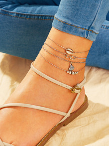 Shell & Ball Decor Chain Anklet 3pcs