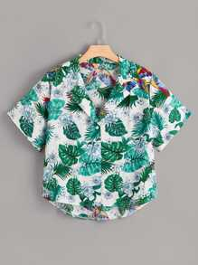 Plus Tropical & Bird Print High Low Shirt