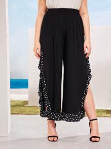 Plus Elastic Waist Polka Dot Panel Slit Pants