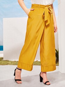 Plus Self Tie Waist Wide Leg Pants
