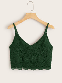 Guipure Lace Zip Back Scallop Cami Top