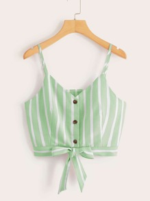 Striped Button Front Knot Hem Cami Top