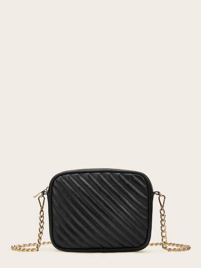 Chain Strap Ribbed Crossbody Bag