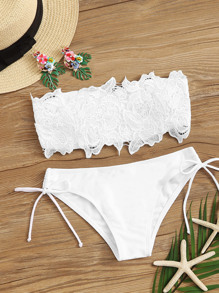 Guipure Lace Bandeau With Self Tie Bikini Set