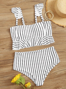 Striped Ruffle Trim Bikini Set