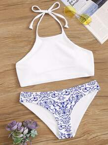 Halter Top With Porcelain Print Bikini Set