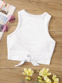 Knot Hem  High Neck Swimming Top