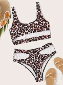 Leopard Cut Out  Bikini Set