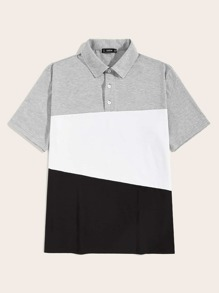 Men Colorblock Half Placket Polo Shirt