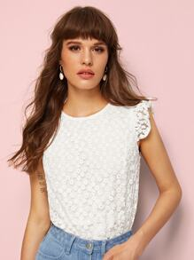 Eyelet Embroidery Button Keyhole Back Blouse