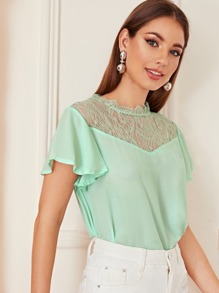 Contrast Lace Butterfly Sleeve Blouse