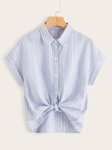 Striped Print Button Front Blouse