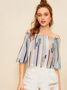 Striped Print Shirred Off Shoulder Blouse