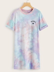 Letter Embroidery Tie Dye T-shirt Dress