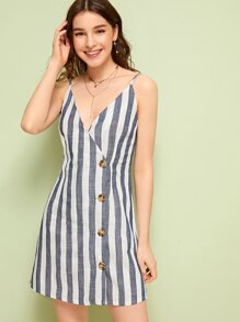Button Front Striped Print Cami Dress
