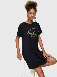 Letter And Cat Print T-shirt Dress