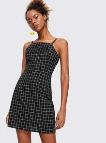 Grid Print Zip Back Cami Dress