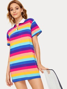 Colorful Striped Print Polo-neck Dress