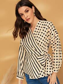 Dot & Stripe Print Tie Side Wrap Blouse