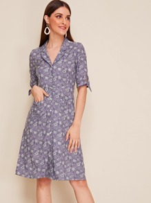 Allover Ditsy Button Front Shirt Dress