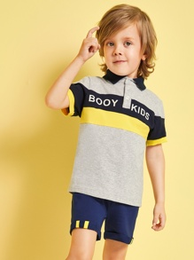 Toddler Boys Contrast Panel Letter Print Polo Shirt