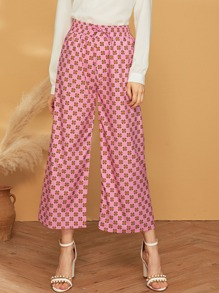 Drawstring Waist Dot Circle Print Wide Leg Pants