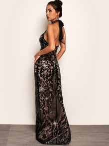 Joyfunear Split Hem Backless Halter Sequin Maxi Dress