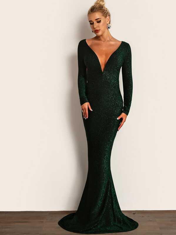 11e80ba4d85e Joyfunear vestido maxi ajustado brillante de espalda abierta de cuello  profundo