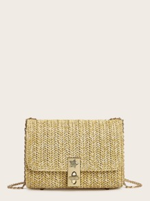 Rhinestone Detail Woven Chain Bag